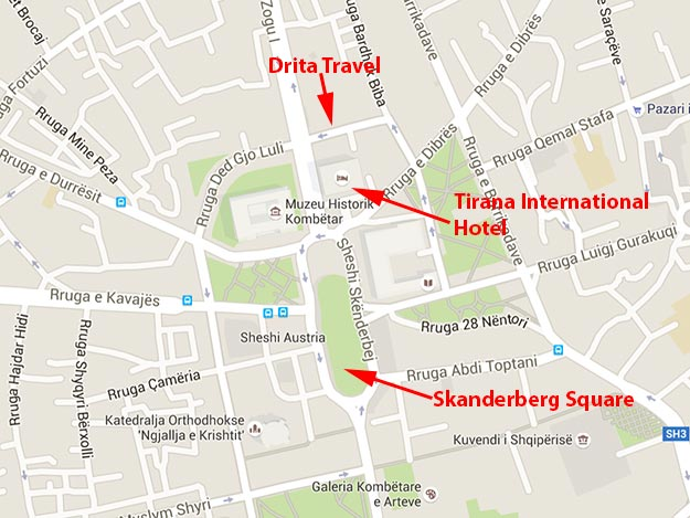 Map showing the location of Drita Travel, which offers the best option for how to get from Tirana to Montenegro