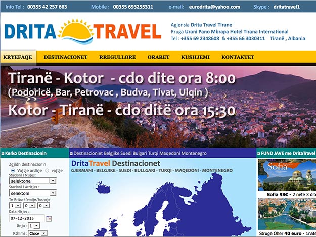 Screenshot of the Drita Travel website, only available in Albanian