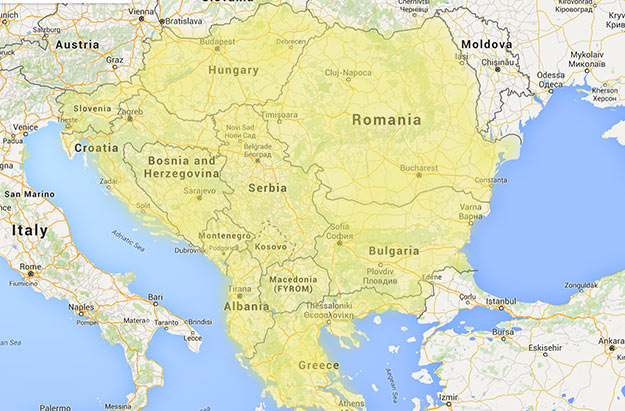Countries that are generally considered to make up the Balkan Peninsula in Eastern Europe, though some would exclude Slovenia and/or add the European portion of Turkey