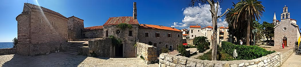 Panoramic view of churches inside old walled city of Budva, left to right, Santa Maria in Punta Church, St. Sava the Annointed Church, and Church of the Holy Trinity. Click on photo for larger view.