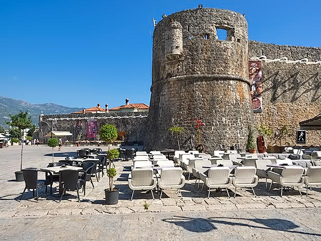 Massive stone walls still surround the Stari Grad, or Old Town, of Budva, Montenegro