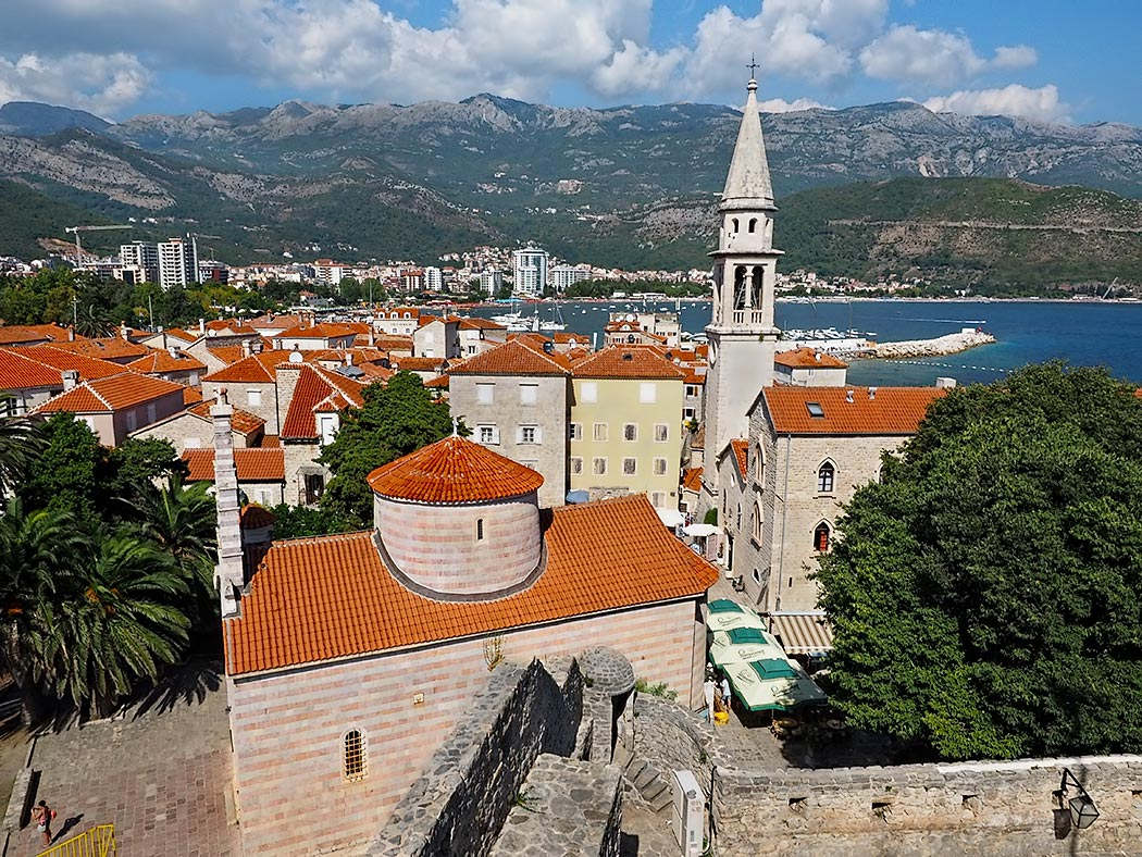 The medieval walled city of Budva, Montenegro, as seen from the Citadel, the old fortification that defended the city for centuries