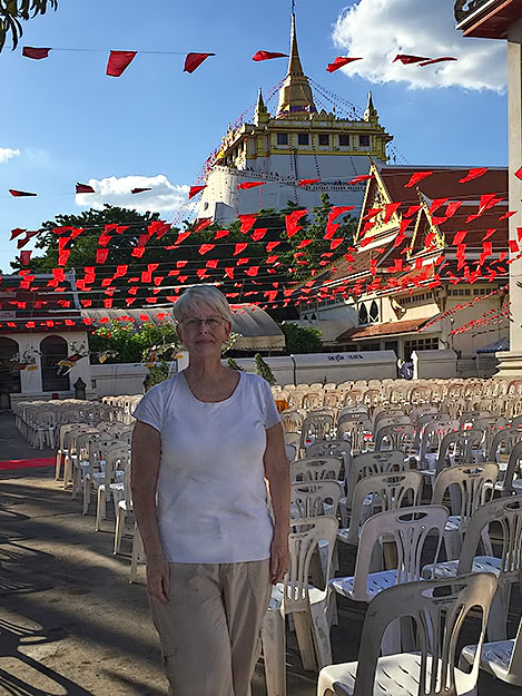 Barbara Weibel at Wat Saket and the Golden Mont in Bangkok, Thailand, New Year's Eve day, 2015