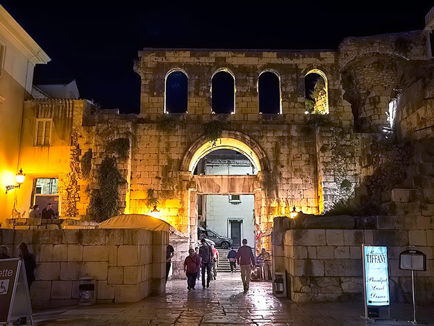 Silver (east) gate of Diocletian's Palace in Split, Croatia