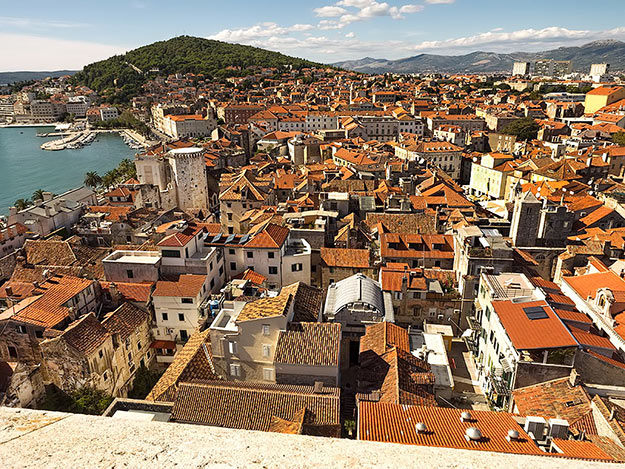 View of Split from the top of Saint Domnius Cathedral bell tower, with Marjan Park in the distance