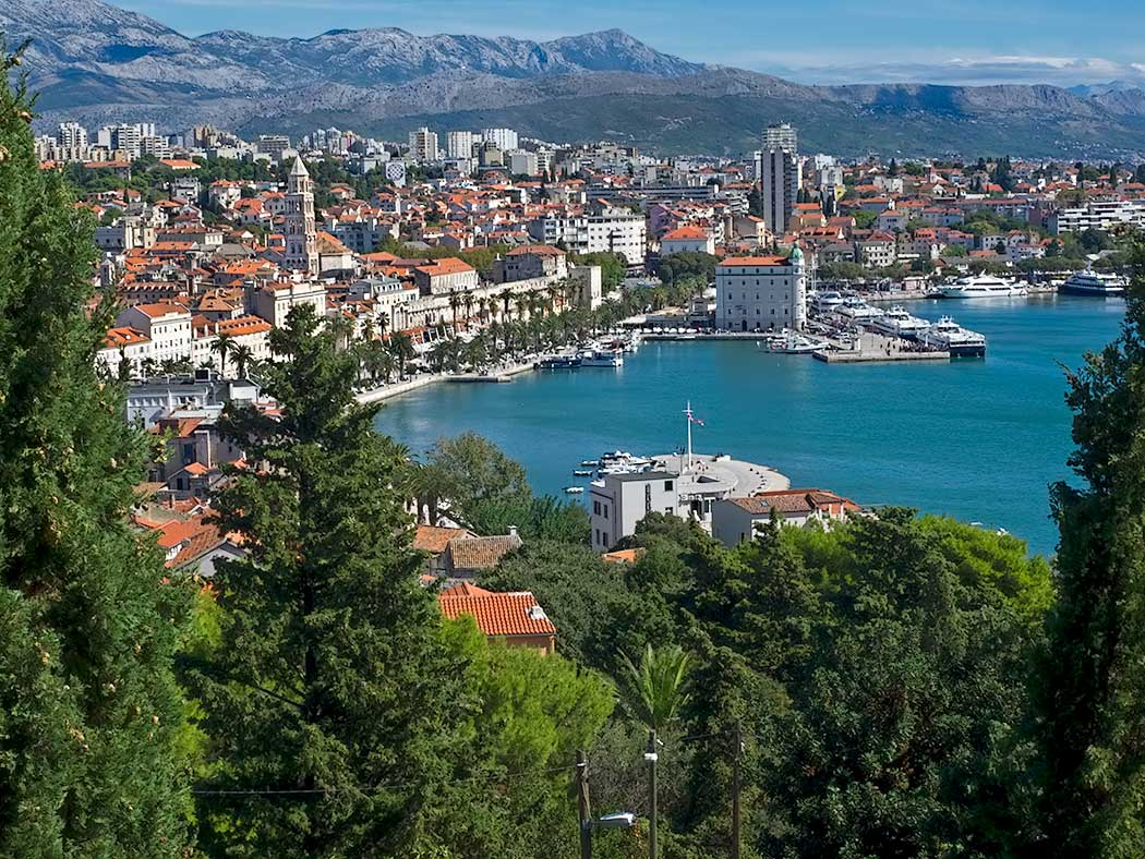 The harbor, Riva, and Old Town of Split, Croatia