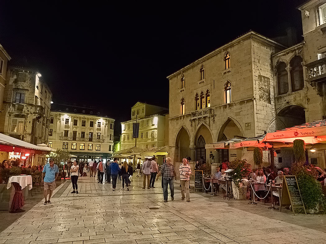Narodni Trg (People's Square), in the old town area of Split, Croatia
