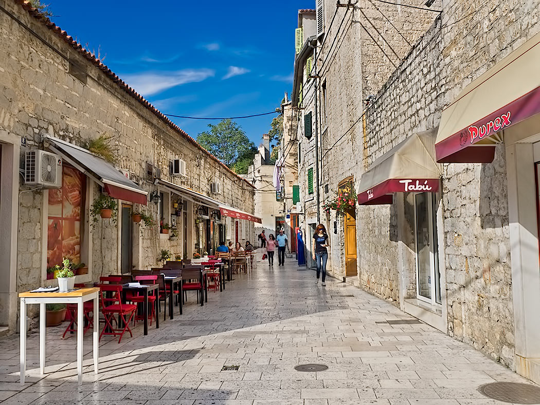 Typical street in the Old Town of Split, Croatia