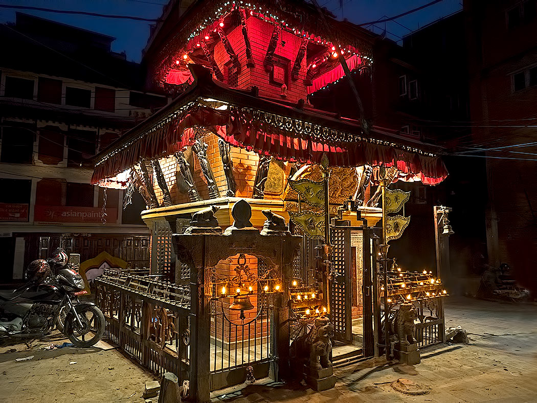 Neighborhood temple in Kathmandu, Nepal, decked out for the Hindu holy holiday of Dashain