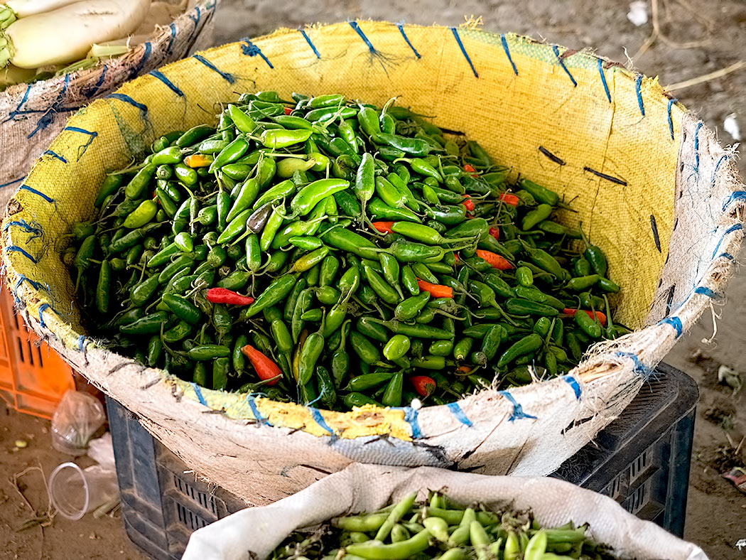 Fresh chilies (khursani) at the Kalimati Fruits and Vegetables Market in Kathmandu, Nepal