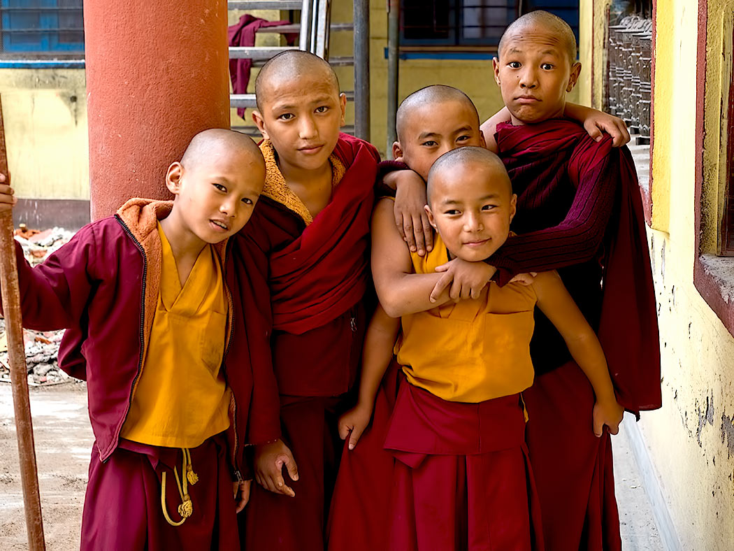 Novice monks a the Sakya Tharig Monastery near the UNESCO World Heritage Boudhanath Stupa in Kathmandu, Nepal