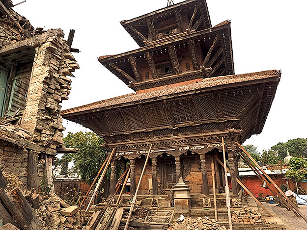 Narayan Temple on the shores of the Bagmati River in Kathmandu was severely damaged by the earthquake