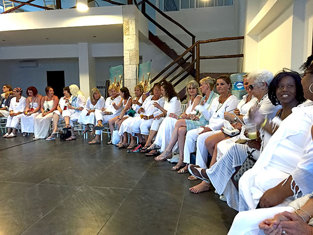 Some of this year's participants in our closing circle on day three, all dressed in white to symbolize renewal