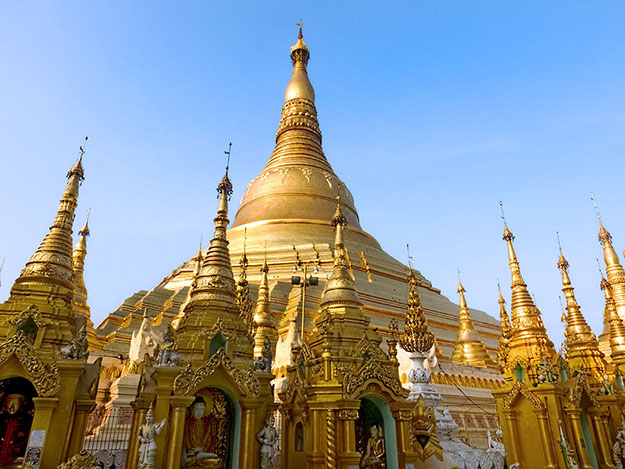 The gold-plated Shwedagon Pagoda, surrounded by some of the 2,000 shrines, halls, and stupas that spread across the site