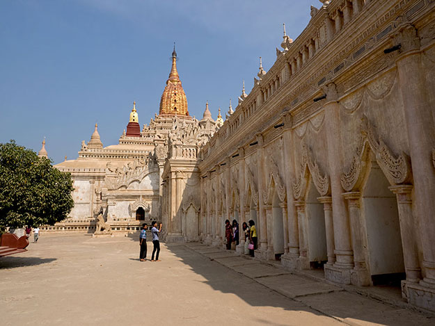 Ananda Phaya, one of the larger of the temples of Bagan, is best known for four giant standing Buddhas inside the temple