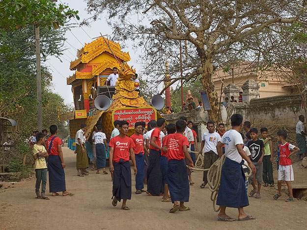 Funeral of a high-ranking monk from Lawkananda Pagoda in New Bagan.His body will be carried to the funeral in this two-tiered wooden cart, decorated like a giant bird.
