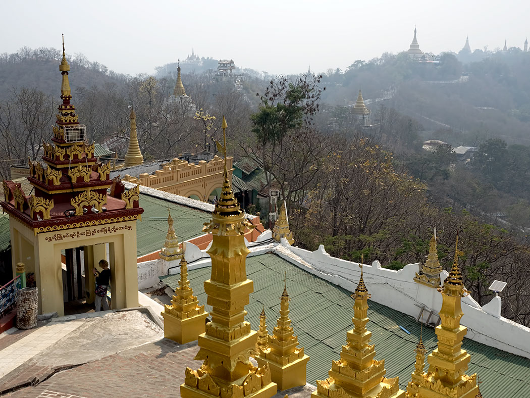 View from U Min Thonze Cave and Pagoda, on Sagaing Hill near Mandalay, Myanmar
