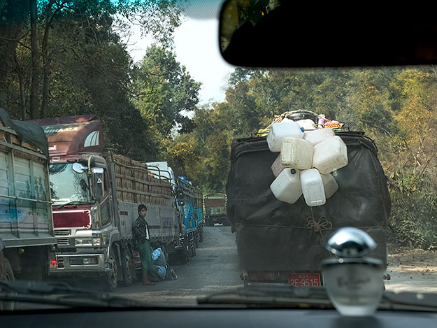 Truck traffic on the road to the Hill Stations of Myanmar
