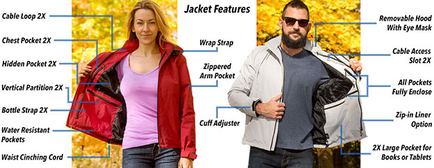 Specialized features of the Global Travel Clothing jacket with hidden pockets
