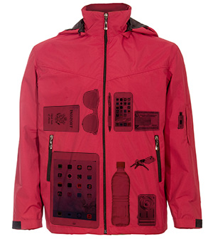 X-ray view of the Global Travel Clothing jacket with hidden pockets