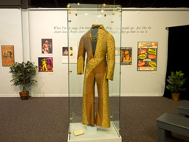 Elvis got the idea for his unique wardrobe from outfits like this one, worn by the late James Brown and now on display at the Augusta Museum