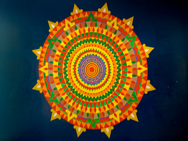 The mandala in the farmhouse that St. EOM claimed to be able to make rotate simply by focusing on its spirals