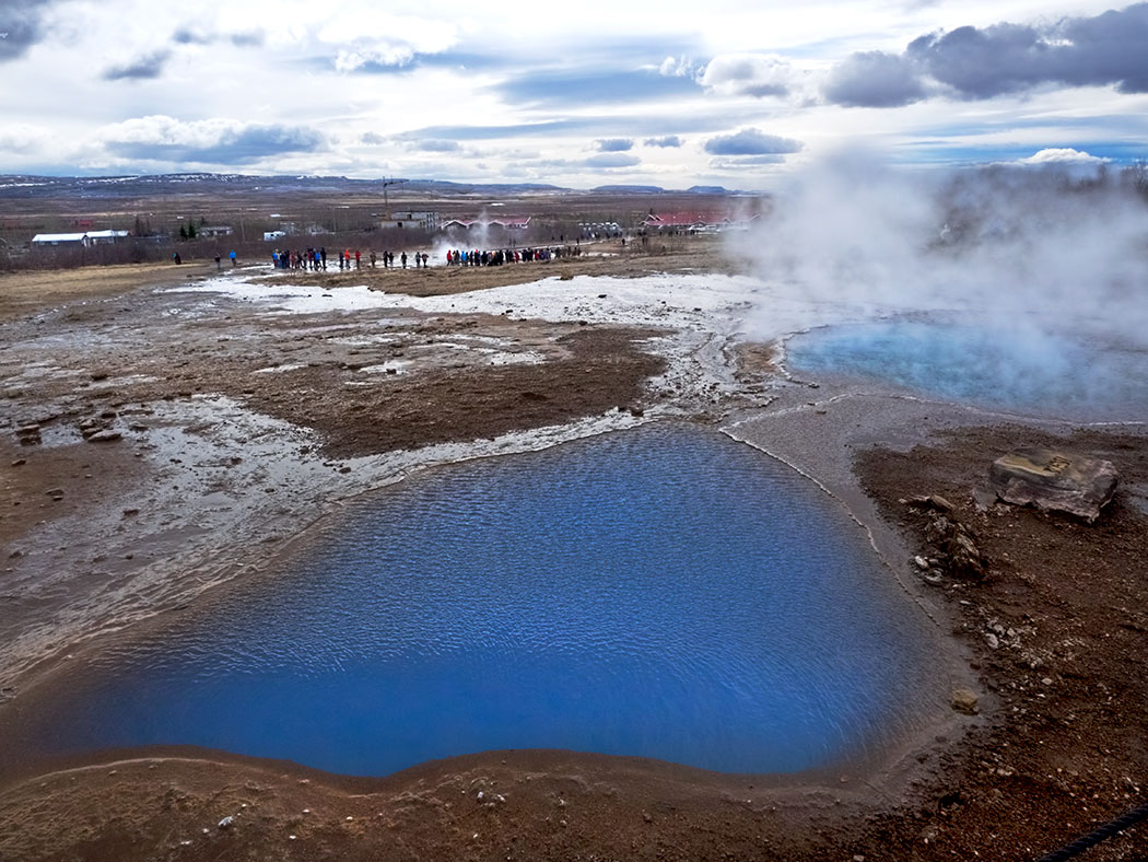 Blesi and Fata geysers at Geysir Hot Springs in Iceland