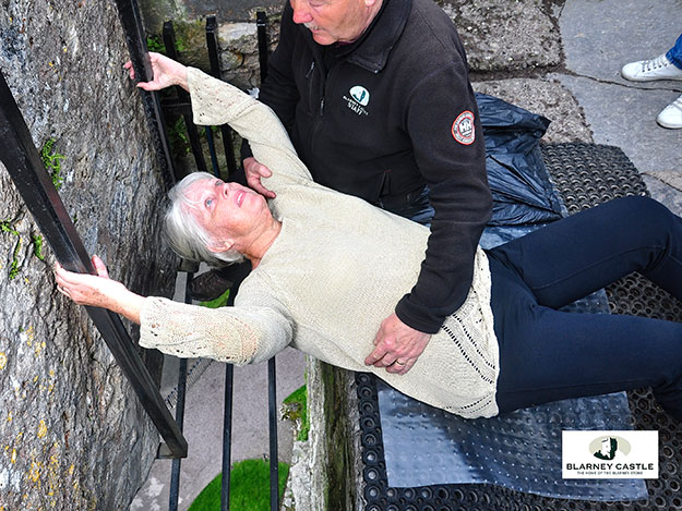 Kissing the Blarney Stone required lying on my back, grabbing the iron rails behind my head, and leaning through a hole in the floor