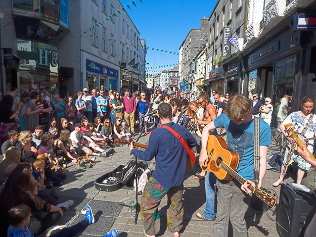 Music in Galway is everywhere and many, like the Galway Street Band, seem to play for the pure joy of performing
