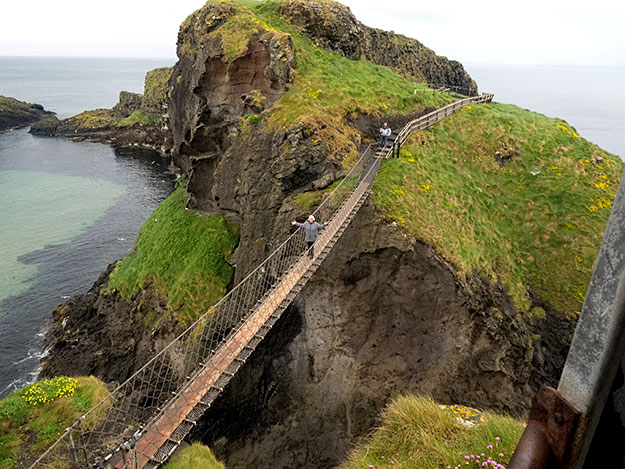 Carrick-a-Rede Rope Bridge on the Caiseway Coast in Northern Ireland, has long been used by local fishermen to trqansfer their catch from the rocky promontry to the mainland