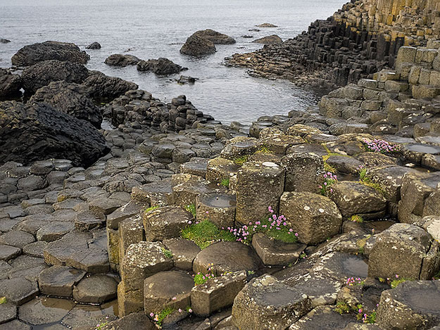The basalt columns at Giant's Causeway on the Causeway Coast in Northern Ireland are largely five and six-sided, though some have up to eight sides