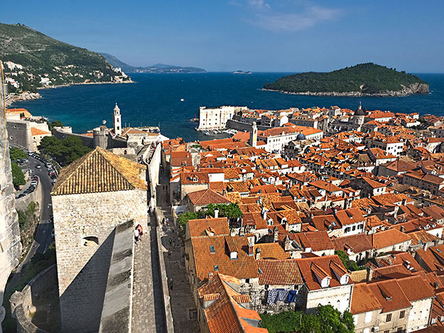 Looking over the medieval old town of Dubrovnik from atop the city walls