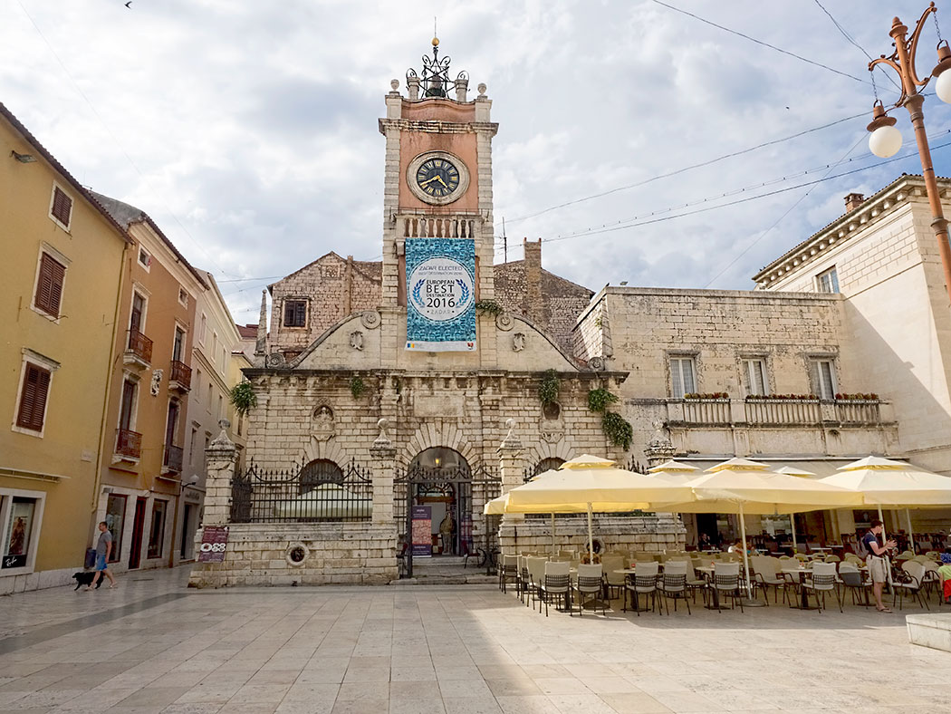 One of several lovely squares in the old town of Zadar, Croatia