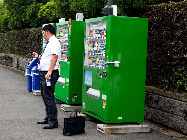 Vending machines are ubiquitous and not quite as difficult as learning how to use a toilet in Japan