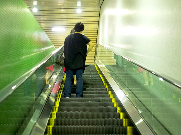 On escalators in Japan, everyone stands to the left, allowing those who wish to walk up to easily pass