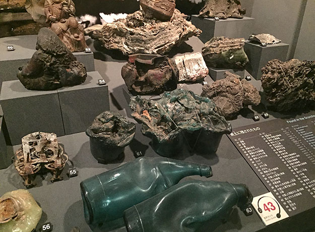 Articles twisted almost beyond recognition after the atomic bomb blast in 1945 are on display at the Hiroshima Peace Memorial Museum