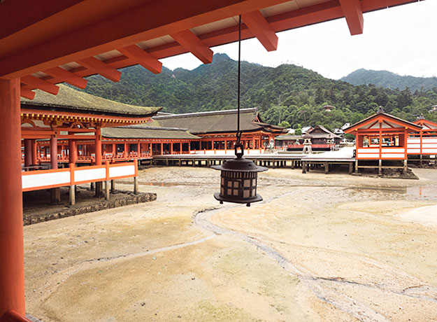 Itsukushima Shrine on Miyajima Island, Japan, at low tide