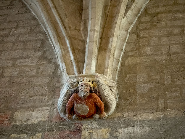 Fanciful sculptures still adorn the arches of the Grand Audience in the Palace of the Popes in Avignon, France