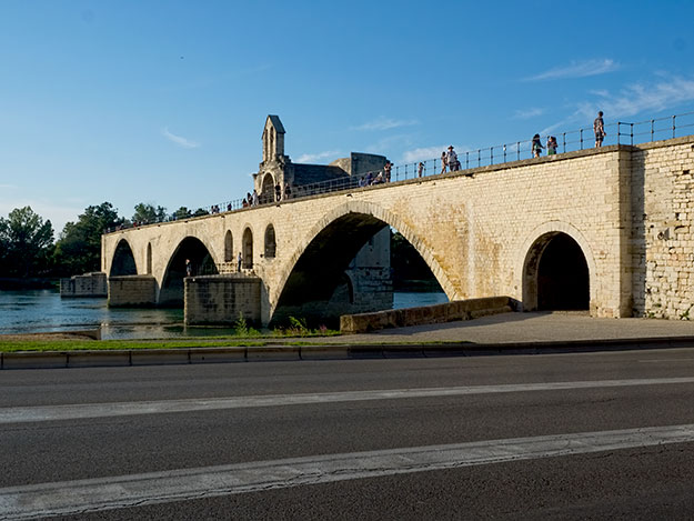 Like the Popes of Avignon, the Pont St. Benezet ends in mid-river, eternally washed away by floods and out of the history books