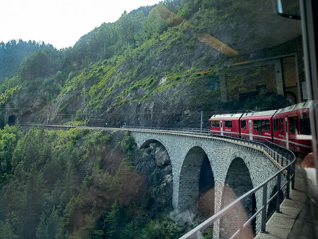 The 446-foot long Landwasser Viaduct is the signature structure of the Rhaetian Railway