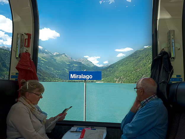While stopped at the Miralago station, I enjoyed a view of the exquisite turquoise Poschiavo Lake through the train's wrap-around panoramic windows