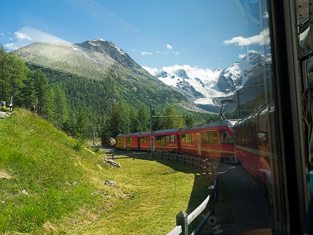 The Bernina Express Railway is the only train to go up and over the alps rather than through them, negotiating 55 tunnels and 196 bridges during its four-hour journey