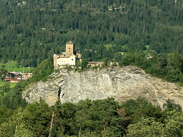 Castle in the Domleschg Valley, seen during the descent into Chur