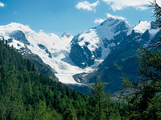Breathtaking view of the Morteratsch Glacier as the Bernina Express train rounded the 180-degree Montebello Curve