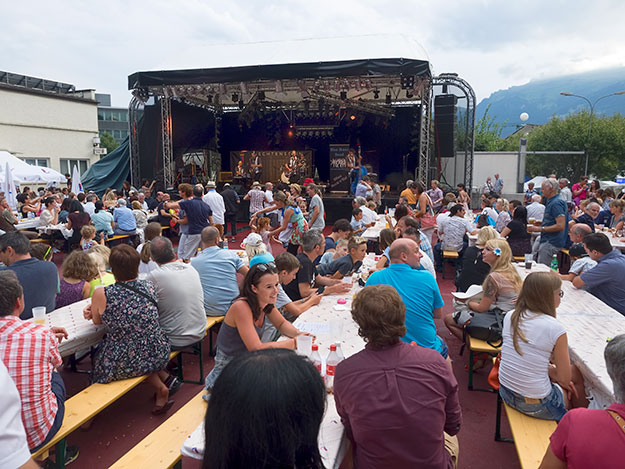 One of many stages offering live music during National Day in Liechtenstein