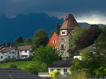 The eclectic in Vaduz, Liechtenstein ranges from the Prince's 12th century Romanesque castle to ultra modern homes
