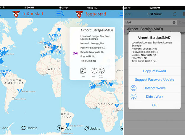 Screens showing the available wifi networks in airports around the world, as they appear on the WiFox app
