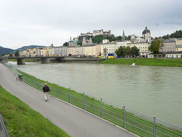Looking across the Salzach River to the historic Old Town of Salzburg, Austria
