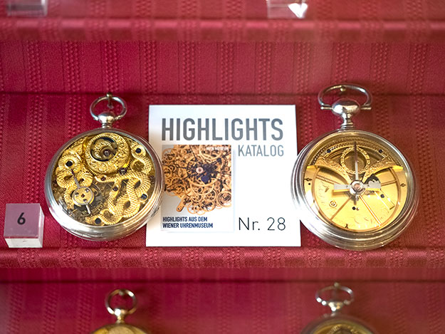 Rare pocket watches on display at the Clock Museum in Vienna