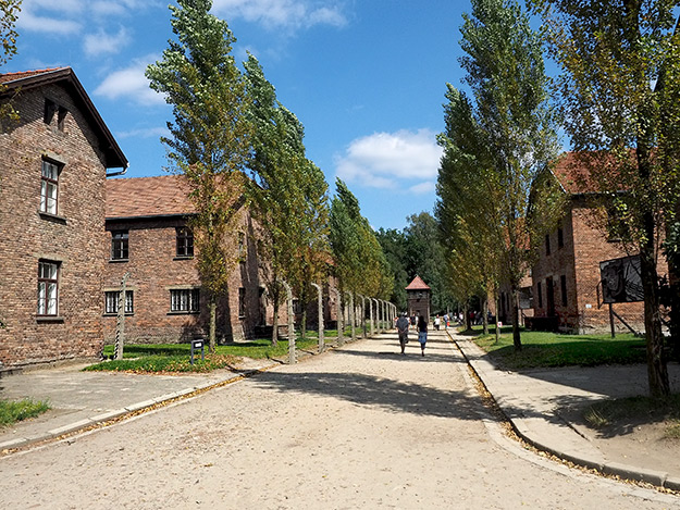 Buildings in the prisoner block at Auschwitz Concentration Camp are deceptively nice, as if it was a suburban housing division